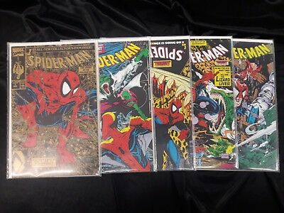 """Spider-Man #1-5 Run (1990, Marvel) 2 3 4 """"Torment"""" Complete McFarlane Gold Cover"""
