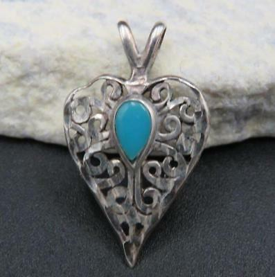 Vintage Old Navajo Sterling Silver Signed OTT Turquoise Swirl Heart Pendant