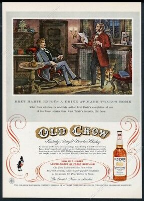 1956 Mark Twain Bret Harte portrait Old Crow Bourbon whiskey vintage print ad