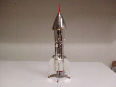 Rare Chrome Metal Rocket Mechanical Bank Astro Mfg. USA.W/Key & Instructions.
