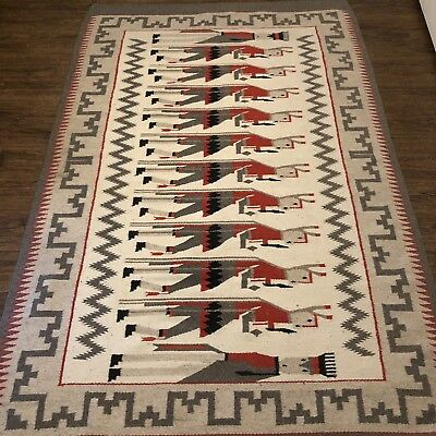Navajo Yei Wool Rug Handwoven Multi Color with 12 Yeibichai Figures 7' x 2' 8""