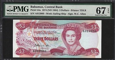 Bahamas ND (1984) 3 Dollar Central Bank Note Pick# 44a PMG Superb Gem Unc 67 EPQ