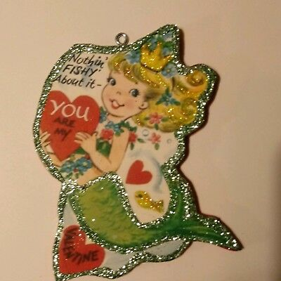 Valentine's Day Glitter Wood Ornament Sweet Mermaid Nothing Fishy About It