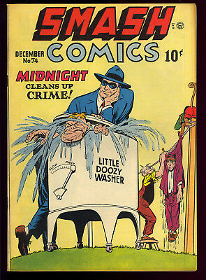Smash Comics #74 Very Nice Midnight Lady Luck Golden Age Quality 1947 FN-VF