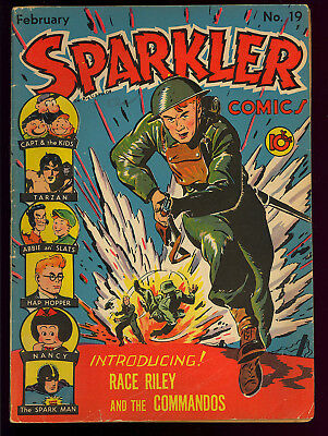 Sparkler Comics #19 1st Race Riley Cover/Story Tarzan United Features 1943 VG