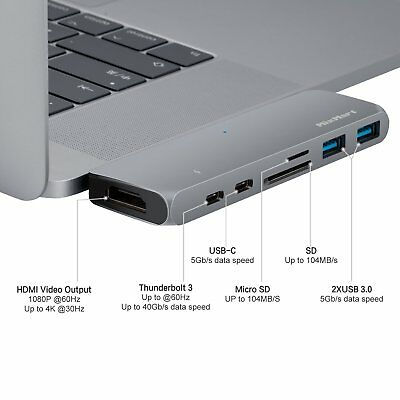 7in1 USB-C Hub Type-C Multiport Card Reader Adapter 4K HDMI For MacBook Pro