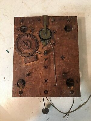 Antique Terry Era Wooden Works Clock Movement Fr: Stratton Ogee Case