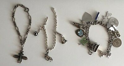 Lot of THREE (3) Sterling Silver Charm Bracelets with 17 Sterling Charms