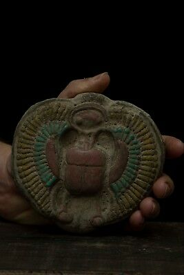 ANCIENT EGYPT EGYPTIAN Antiques SCARAB WINGS Beetle HIEROGLYPH STELA Stone BCE