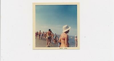 1969 Great Color Moment Very Crowded Beach Scene