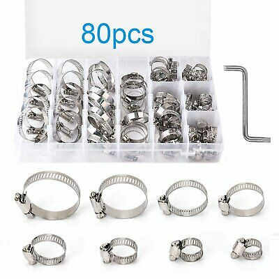 80Pcs Assorted Stainless Steel Hose Clamp Clips Kit Set 8-44mm with Z Wrench UK