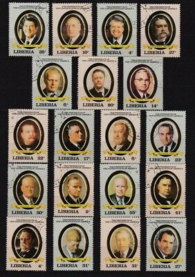 Matching Stamps Featuring 19 Past Presidents, Up To Ronald Reagan