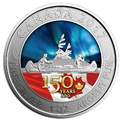 $5 Dollar 150th Anniversary Canada Voyageur Special Edition silver 2017 coloured
