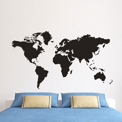 Large Black Map Of The World Wall Stickers Decal Vinyl Art Home Kids Room Decor