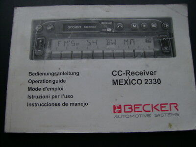 Bedienungsanleitung Becker MEXICO 2330 operation guide Mercedes Porsche BMW