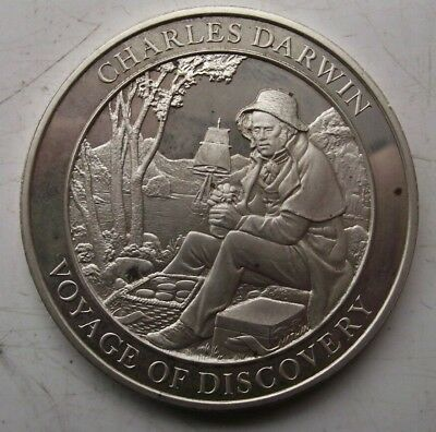 LONDON 1977 STERLING SILVER HALLMARKED CHARLES DARWIN DISCOVERY MEDALLION 37.7g