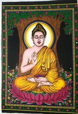 Lord Buddha God Religious Hippie Indian Poster Tapestry Wall Hanging Home Decor