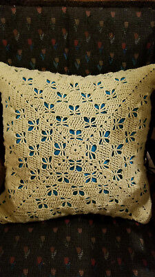 """Crocheted pillow 16"""" Yellow butterfly stitch with turquoise lining"""