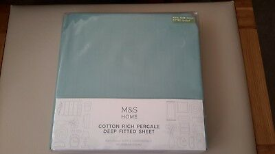 Marks & Spencer Deep Fitted Sheet King Size Aqua