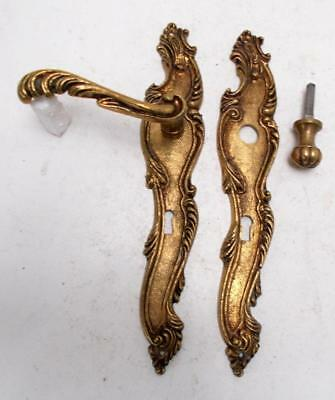 2 Stylish Vintage French Solid Brass Rococo Door Finger Plates & Handles