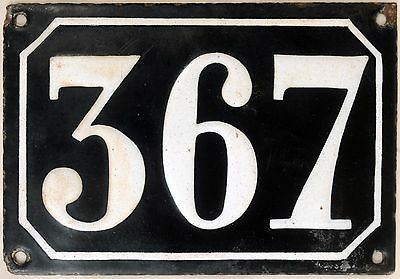 Large old black French house number 367 door gate plate plaque enamel metal sign