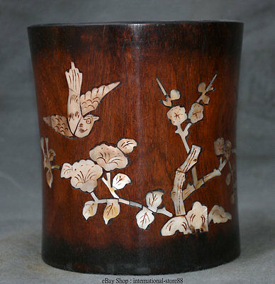 "6"" Chinese Huali Pear Wood inlay Shell Bird Flower Magpie Brush Pot Pencil Vase"