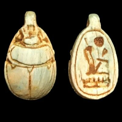 Beautiful Ancient Egyptian Scarab Amulet 300 Bc (8)