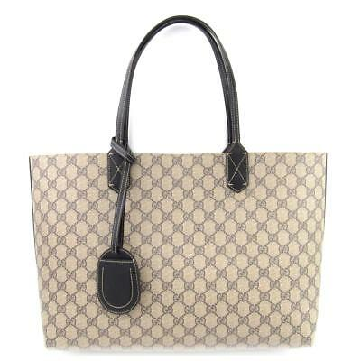 9511b31ab68d GUCCI Reversible GG Medium Tote Bag 368568 Leather x GG Supremes Used