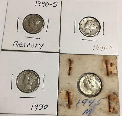 Lot 4 Mercury Silver Dime 1930-p,1940-s,1941-s & 1945-pEstate Sale, 45 Looks New