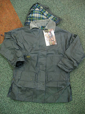 Waxed Cotton Waterproof Coat Country Jacket Blue Ladies Uk 12 Made In Scotland