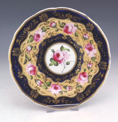 Antique English Pottery Rose Flower Painted Cobalt Blue & Gilt Plate - Early!