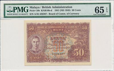 Board of Commmissioners of Currency Malaya  50 Cents 1941  PMG  65EPQ