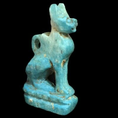 Beautiful Ancient Egyptian Blue  Cat Amulet 300 Bc (13)