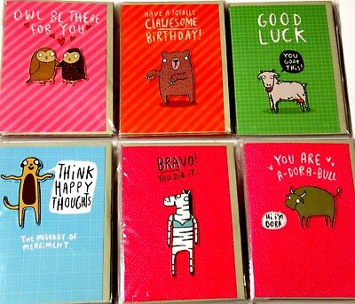 JUST 29p! ANIMAL ANTICS HANDMADE CARDS x36, 6 'designs x6,-WRAPPED 'HELLO THERE'