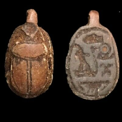 Beautiful Ancient Egyptian Scarab Amulet 300 Bc (14)