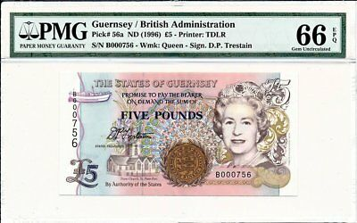 British Administration Guernsey  5 Pounds ND(1996) Low No.000756 PMG  66EPQ