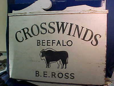 Vintage CROSSWINDS BEEFALO FARM Hand PAINTED 2 Sided WOOD Advertising SIGN