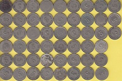 Germany Empire  5 Pfennig  small & large eagle, lot of 51..............45
