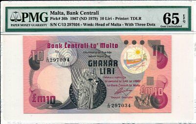 Bank Centrali Malta  10 Liri 1967 Blindman Issued PMG  65EPQ
