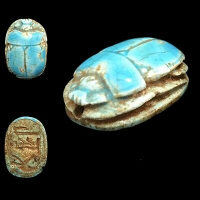 Ancient Egyptian Glazed Scarab Bead Seal With Hieroglyphics 664 - 332 Bc (3)