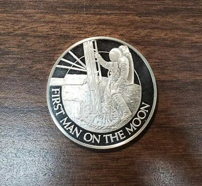 First Man On The Moon, Franklin Mint, Proof Sterling Silver Medal