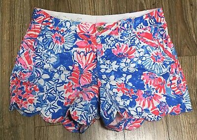 e01b7dc258664b Lilly Pulitzer BUTTERCUP Shorts •Womens 6• Bay Blue Pop Pop Red White  Scalloped