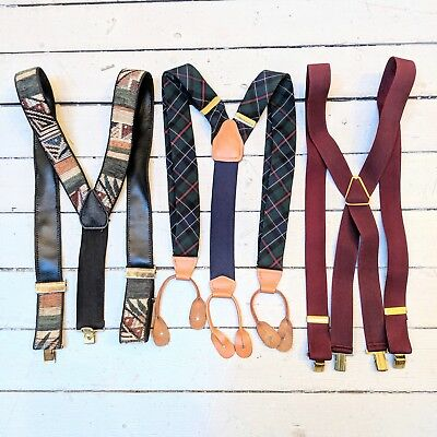 #15 Lot of 3 Vintage Classic Dress Style Mixed Patterned Suspenders (GREAT)