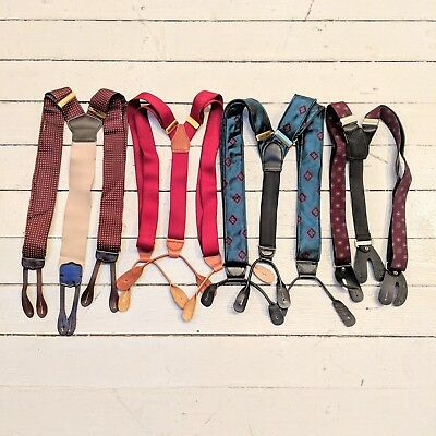 #19 Lot of 4 Vintage Classic Dress Style Mixed Patterned Suspenders (GREAT)