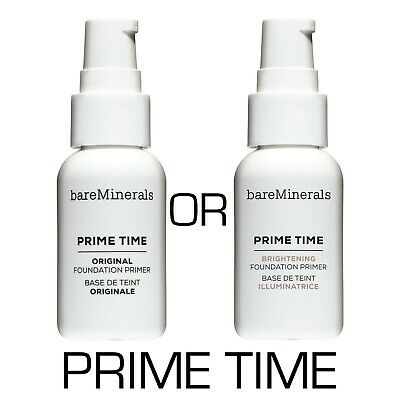NEW ✅ bareMinerals Prime Time ORIGINAL or BRIGHTENING Foundation Primer 30ml