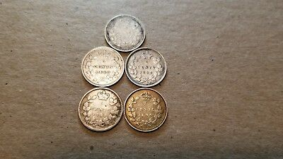 Lot Of 5 Canadian Silver Half Dimes 5C 1870, 1888, 1893, 1896 & 1899