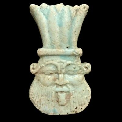 Beautiful Ancient Egyptian Blue Bes Amulet 300 Bc (20)