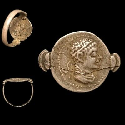 Ancient Indo-Greek Silver Coin Ring,  171-135Bc. (1)
