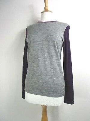 Icebreaker Bodyfit 200 Pure Merino Wool Grey & Purple Base Layer UK Size 12