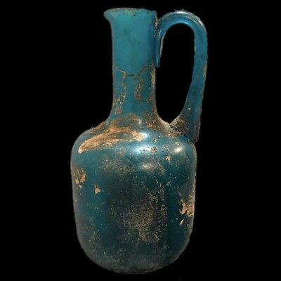 VERY RARE LARGE ANCIENT ROMAN BLUE GLASS VESSEL 1st Century A.D. (21) 21 cm !!!